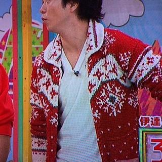 VS嵐11月 櫻井翔着用の衣装 赤いカウチンニット