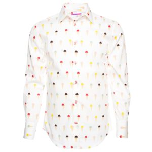 men-s-ice-cream-cones-patterned-regular-cut-shirt