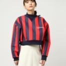 嵐 大野智さんが3/29VS嵐で着用した衣装JOYRICH Marker Logo Stripe Cropped Crewneck