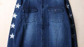 11/23VS嵐で大野智さん着用の衣装のNAVALスタープリントデニムシャツ