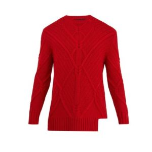 NEWSICALで小山慶一郎さん着用の私服ニットのNEIL BARRETT Asymmetric-hem cable-knit wool sweater