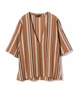 5/19嵐にしやがれで 二宮和也さん着用の衣装・hInternational Gallery BEAMS TA CA Si / Vネック ジップ ストライプシャツ