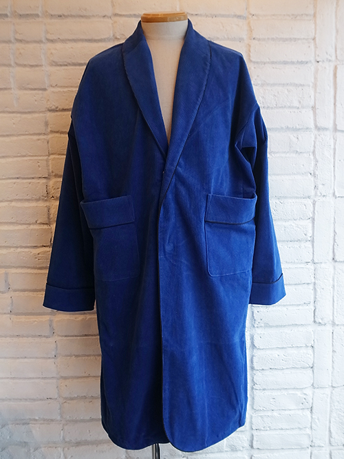 【SUPERTHANKS/スーパーサンクス】CORDUROY SHAWL COLLAR COAT (ROYAL BLUE)