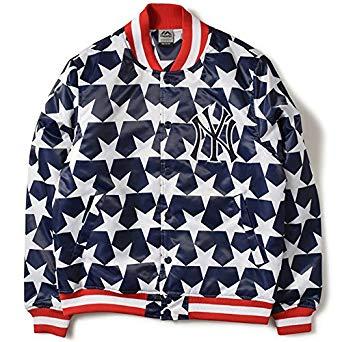 中島健人くんがドロ警で着用の衣装・Majestic マジェスティック NEWYORK YANKEES ニューヨーク ヤンキース ALL OVER STARS STADIUM JACKET ジャケット MM23-NY0076-NVY5 NAVY