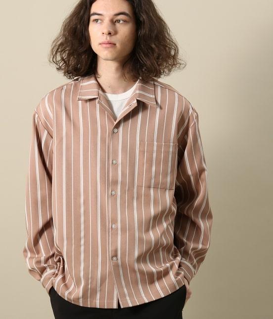 大野智 VS嵐 衣装 2/7 JunRed TRストライプオープンカラーシャツ