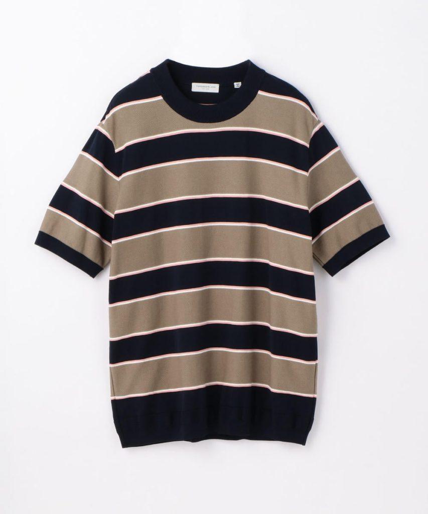 大野智 嵐にしやがれ 衣装 2/23 TOMORROWLAND MEN  コットン レトロボーダー ニットTシャツ