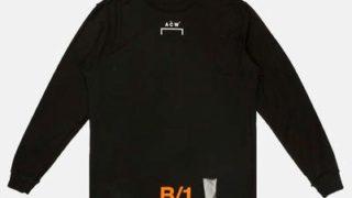 向井康二 私服 Tシャツ ブランド Black Long Sleeve 'B/1' Tape T-Shirt