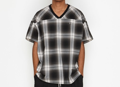 有岡大貴 ヒルナンデス 衣装 number(n)ine OMBRE CHECK BIG SHOULDER SHORT SLEEVE PULLOVER SHIRT