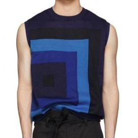 北山宏光 衣装 ウナコーワクール CM Dries Van Noten  Blue Knit Neil Sleeveless Sweater