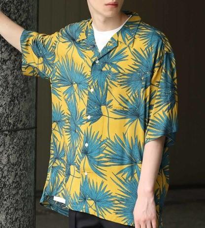 松本潤 衣装 VS嵐 JUNRed 【ビッグシルエット】リーフプリントオープンカラーシャツ