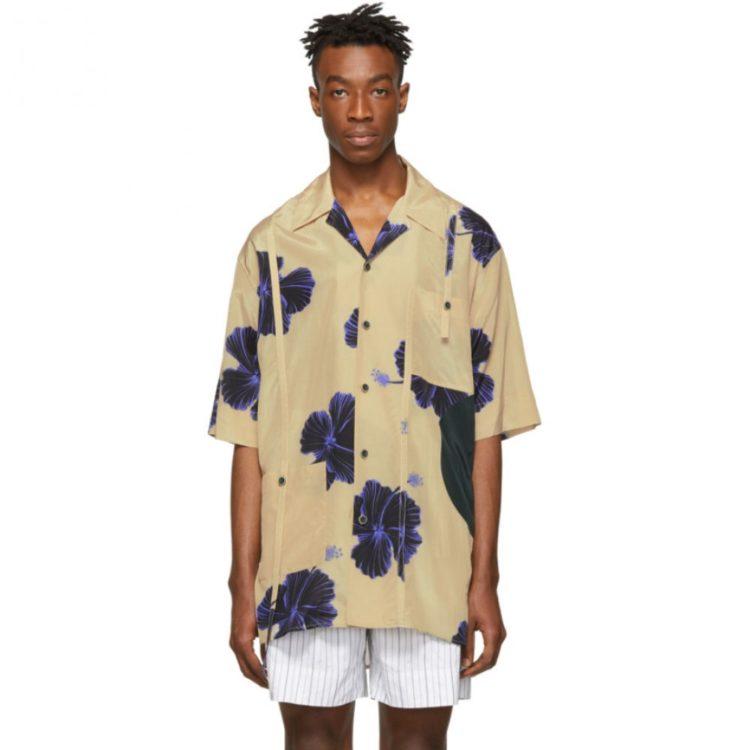 相葉雅紀 嵐にしやがれ 7/13 衣装 3.1 Phillip Lim Beige And Blue Oversized Hibiscus Floral Souvenir Tunic Shirt
