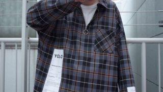 永瀬廉 日日恋廉 Myojo 衣装 rovtski 【ビッグシルエット】2019AW CHECK SOLID 1/2 ZIP SHIRT