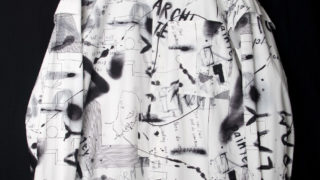 """SixTONES ジェシー スッキリ 2/4 衣装 ALMOSTBLACK (オールモストブラック) """"PRINT SHIRT BLOUSON"""""""