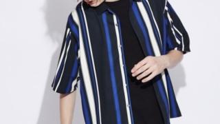 嵐 櫻井翔 嵐にしやがれ 7/25 衣装 MYSELF ABAHOUSE ビックシルエット総柄シャツ ストライプ柄 ブルー ブラック ホワイト