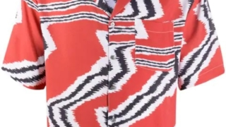 キスマイ 二階堂高嗣 ENDLESS SUMMER 衣装 Missoni Men's Red Abstract Patterned Short-sleeve Shirt