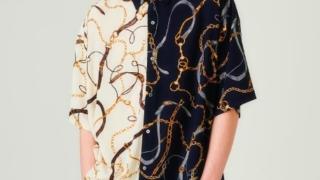 川島如恵留 衣装 duet 2020年9月号 tk.TAKEO KIKUCHI (ティーケー タケオ キクチ) スカーフチェーンプリントビッグシャツ