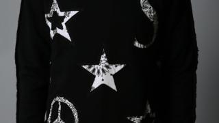 佐藤勝利 VS嵐 11/19 衣装 スウェット STUD MUFFIN(スタッドマフィン)】コットン裏毛起毛-ミリタリーキルティング シンボル パッチワーク スエットシャツ