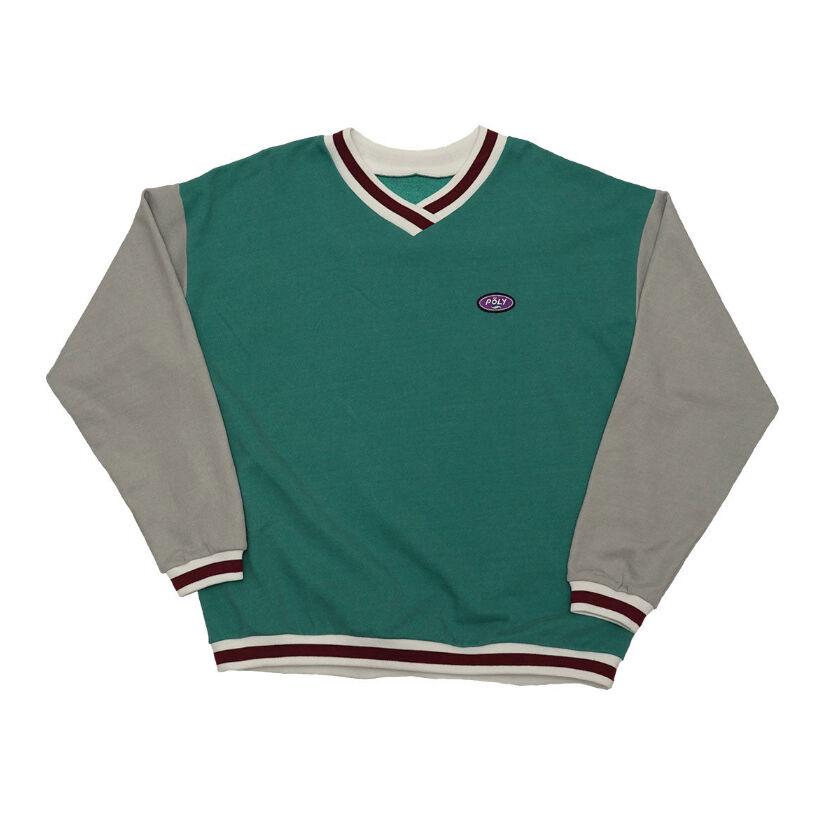大西流星 なにわ男子 衣装 教えてもらう前と後 4/4 Poly Crossover v neck sweat【Green】