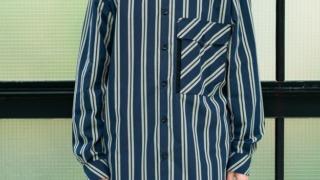 阿部亮平 それスノ 衣装 それSnowManにやらせてください TAUPE Multi Striped Stand-up Collar Shirt