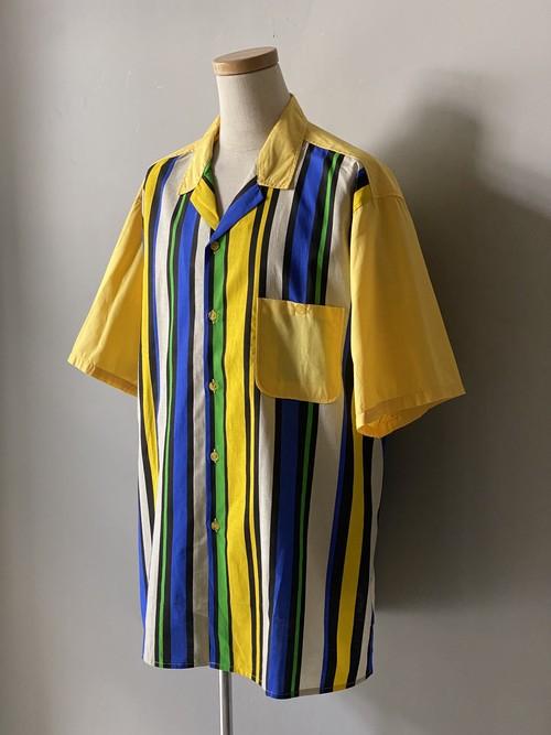 VS魂 風間俊介 衣装 80s コットン ストライプオープンカラーシャツ ヴィンテージ シャツ