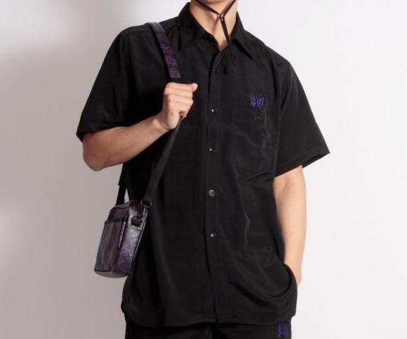 金指一世 私服 美少年 NEEDLES 蝶 刺繍 シャツ