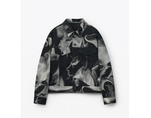 ラウール SnowMan 衣装 EVOLUTION  Alexander Wang alexanderwang BOY JACKET IN SMOKY HEART DENIM BLACK/WHITE - Alexander Wang